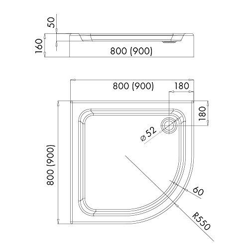duschwanne duschtasse komplettset aquabad norma ma e 90x90cm viertelkreis r55 3x. Black Bedroom Furniture Sets. Home Design Ideas