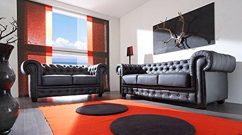Massivum Chesterfield Garnitur Zusammensetzbar, Leder, schwarz, 78 x 98 x 220 cm