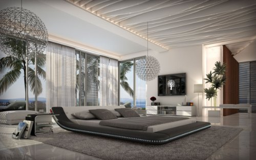 SAM® Polsterbett Custo Innocent LED 140 x 200 cm Bett in schwarz - weiß geschwungenes Seitenteil Beleuchtung pflegeleicht