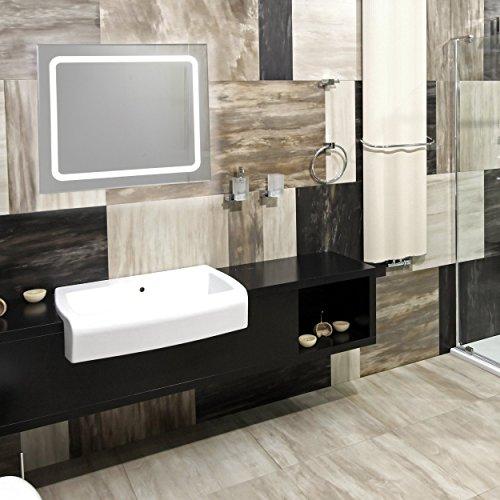 KROLLMANN Badspiegel mit Beleuchtung LED-Spiegel mit Druckknopf, Beleuchteter Bad-Spiegel in 75x60 cm