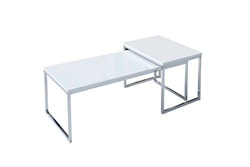 DuNord Design Couchtisch Beistelltisch STAGE LONG 2er Set weiss chrom Design Tisch Set