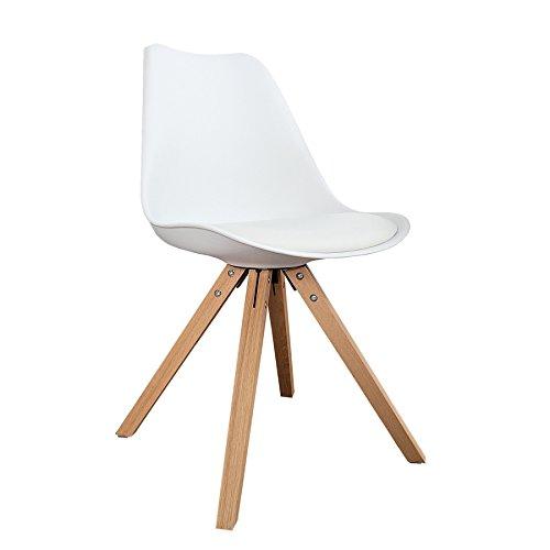 4er Set Design Stuhl SCANIA MEISTERSTÜCK II weiß konisches Gestell aus Eiche