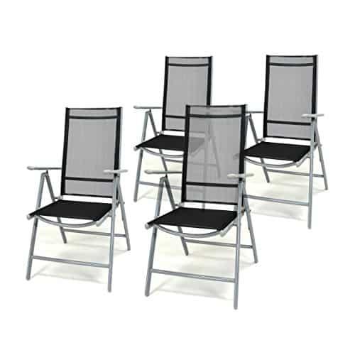4er-Set-Klappstuhl-schwarz-Aluminium-7-fach-verstellbar-Gartenstuhl-Hochlehner-mit-Armlehne-witterungsbestndig-leicht-stabil-Rahmen-silber-Balkon-Terrasse-0