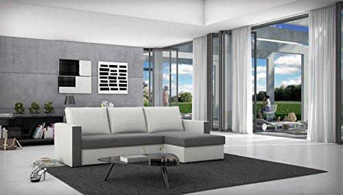 SAM® Schlafsofa, Couch BESIANA in grau weiß, Wohnzimmer Ecksofa in 236 x 145 cm, inklusive Rückenkissen, ausziehbare Schlafcouch, beidseitig montierbarer Ottomane, angenehme Polsterung