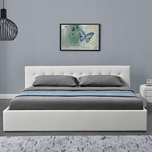 "Polsterbett ""Marbella"" - 180 x 200 cm - weiß mit Lattenrost & Kaltschaummatratze"