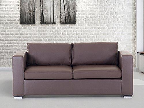 Sofa / Couch Braun - Ledersofa / 3-Sitzer Helsinki