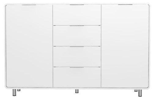 Tenzo 8436-001 Step - Designer Sideboard weiß, MDF lackiert matt, Griffe und Füße aus Metall, 101 x 161 x 44 cm