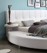 SAM® Polsterbett 160x200 cm, weiß, pflegeleichtes Rundbett mit Kunstlederbezug, abgestepptes Kopfteil, Bett mit Nachttischen [520950] 2