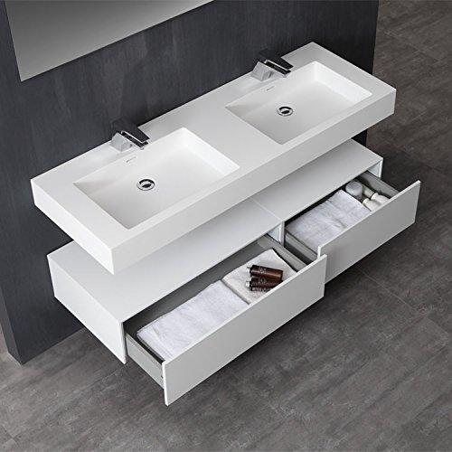 STONEART Badmöbel LP4514 SET weiß 140x48cm matt