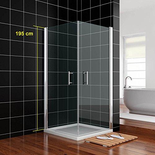 Duschkabine 90x90cm Duschtür Nische Schwingtür Rahmenlos Duschabtrennung Echtglas links/rechts