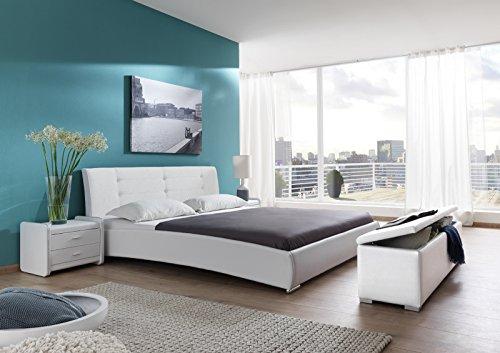 SAM® Polsterbett 90x200 cm Bastia, weiß, pflegeleichtes Design-Bett mit Kunstlederbezug & Stoff, abgestepptes Kopfteil, Einzelbett