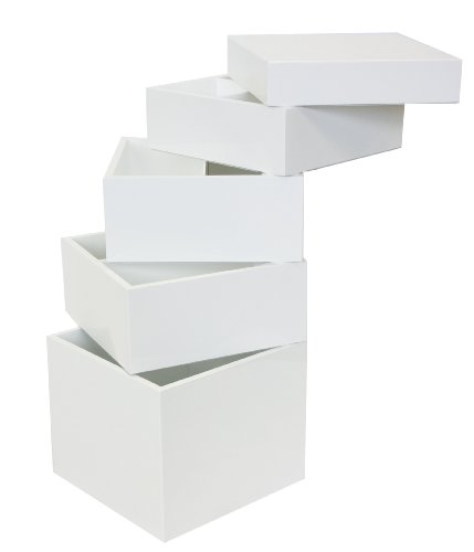Tenzo 4855-071 Bloc - Designer Turm / Stauraum 83 x 36 x 36 cm, weiß hochglanz