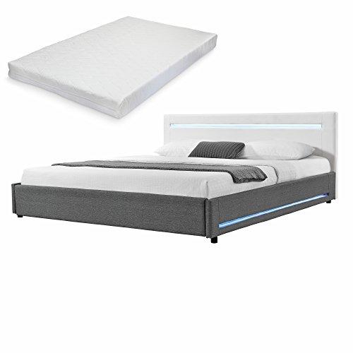 [my.bed] Elegantes LED Polsterbett mit Kaltschaum-Matratze (H2) - 140x200cm - (Kopfteil: Kunstleder weiß - Fuß-und Seitenteil: Textil grau) - Bett / Doppelbett / Bettgestell inkl. Lattenrost