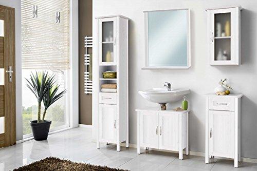 Galdem Badmöbel-Set mit Spiegel Waschbeckenunterschrank Hochschrank Hängeschrank Seitenschrank Badezimmer MDF Echtholz Weiß (MDF mit Spiegel)