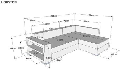 B-famous PolstereckeHouston-2-Pur Schenkelmaß 226 x 160 cm Materialmix Mikrovelours-Struktur, schwarz / grau