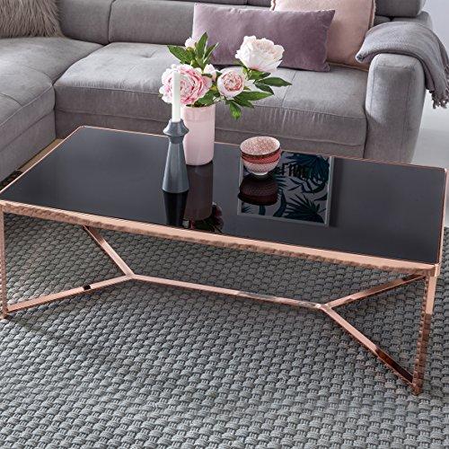 FineBuy Design Couchtisch Glasplatte schwarz / Gestell kupfer 120 x 60 x 41 cm | Wohnzimmertisch verspiegelt Sofatisch modern | Glastisch Kaffeetisch eckig Loungetisch