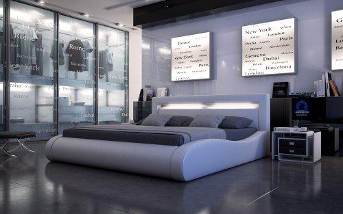 SAM® Polsterbett Sprint II in weiß 180 x 200 cm geschwungene Seitenteile Kopfteil mit Beleuchtung modernes abgerundetes Design Wasserbett geeignet