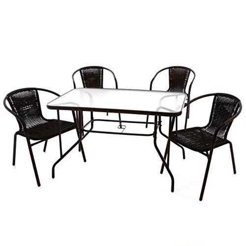 5er bistroset garnitur sitzgruppe gartengarnitur glastisch. Black Bedroom Furniture Sets. Home Design Ideas
