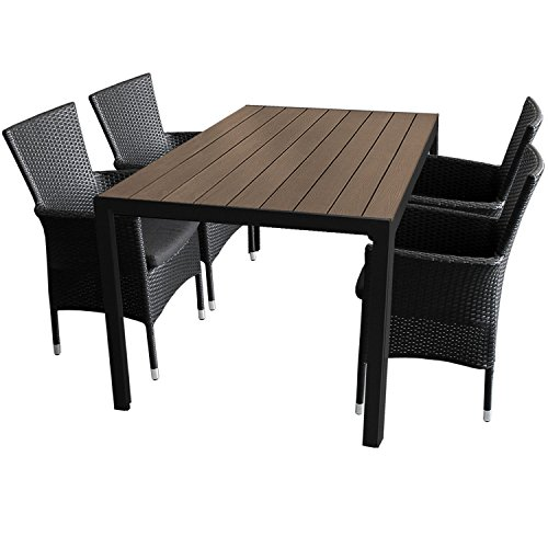 5tlg gartengarnitur aluminium gartentisch 150x90cm mit polywood tischplatte stapelbare. Black Bedroom Furniture Sets. Home Design Ideas