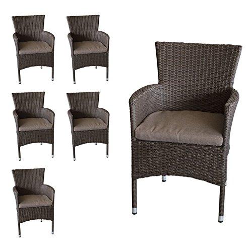 6-Stck-Rattansessel-stapelbar-Polyrattanbespannung-braun-meliert-Sitzkissen-Gartensessel-Stapelstuhl-Gartenstuhl-Rattanstuhl-Rattansessel-Terrassenmbel-Balkonmbel-Gartenmbel-0