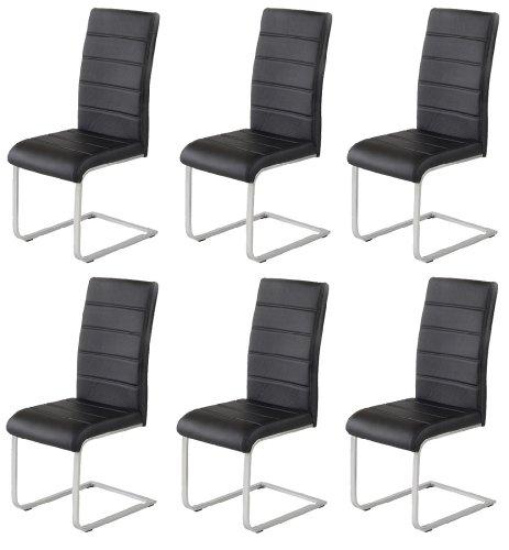6 x Design Stuhl Freischwinger Piet 30 Kunstleder schwarz Esszimmerstuhl