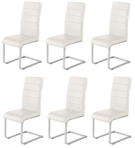 6 x design stuhl freischwinger piet 32 kunstleder creme for Design stuhl freischwinger piet 30