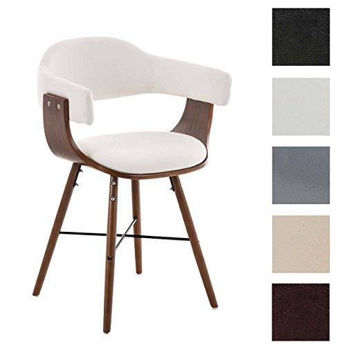 CLP Besucherstuhl BARRIE V2, walnuss, Retro-Stuhl mit Armlehne, Sitzfläche gut gepolstert, Holzgestell Weiß