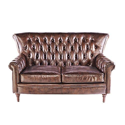 Vintage Chesterfield Sofa 2 Sitzer Ledersofa Braun Echtleder Antik Couch Design Sessel 469