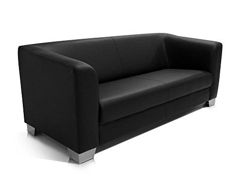 CHICAGO 3er Sofa / Ledersofa, schwarz