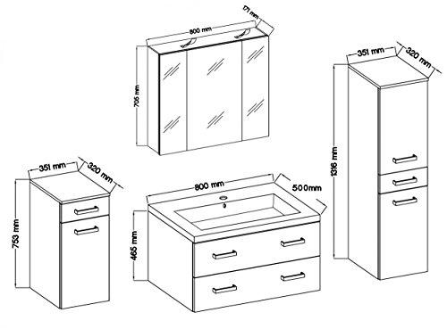 Badmöbel / Badezimmer Regina 5tlg Set in Hochglanz Anthrazit mit 80cm Waschtisch