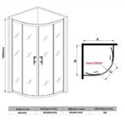 Viertelkreis Duschkabine 90x90cm Duschabtrennung mit Rahmen Runddusche Schiebetür Dusche Duschwand 2