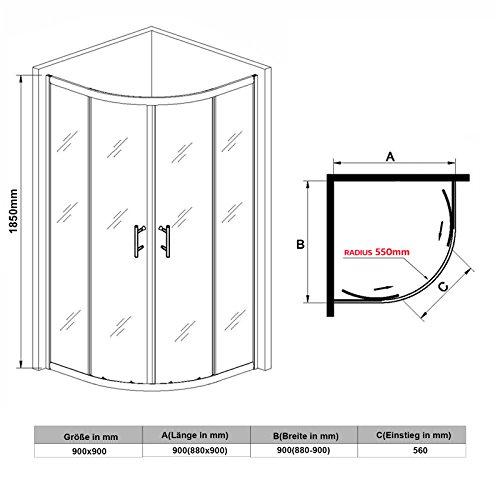 Viertelkreis Duschkabine 90x90cm Duschabtrennung mit Rahmen Runddusche Schiebetür Dusche Duschwand
