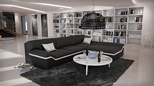 SAM® Ecksofa Mistico schwarz mit weißem Streifen 270 x 220 cm designed by Ricardo Paolo® exklusiv L - Form Ottomane Rechts