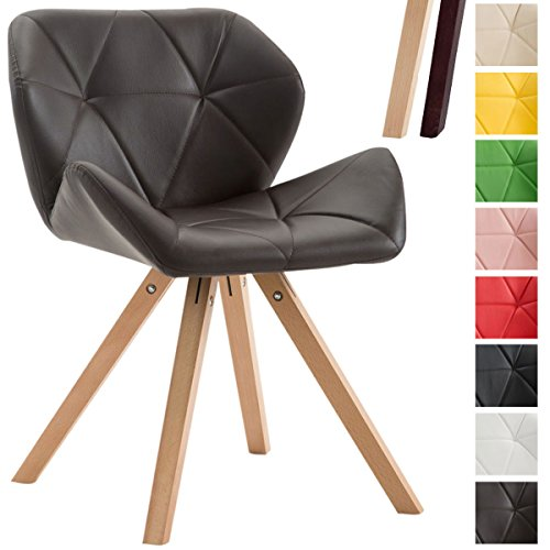 CLP Design Retro-Stuhl TYLER, Bein-Form square, Kunstleder-Sitz gepolstert, Buchenholz-Gestell, Braun, Gestellfarbe: Natura