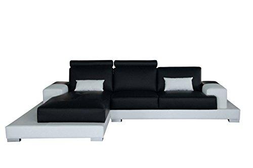 SAM® Ecksofa Eleonora schwarz weiß 124 x 198 cm links