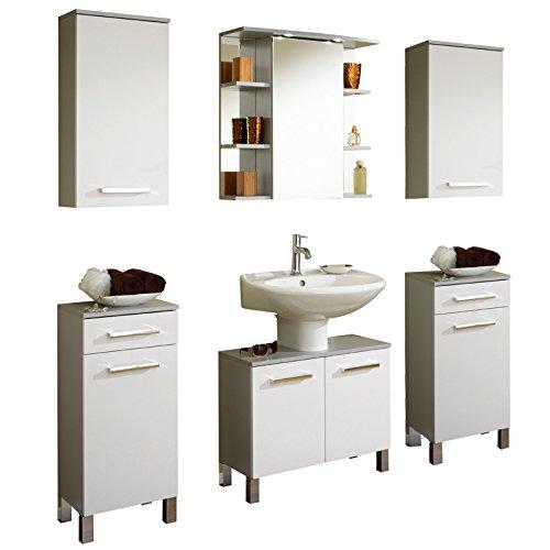 Badezimmer Set Hochglanz wei Badmbel Waschplatz Spiegelschrank Badezimmermbel