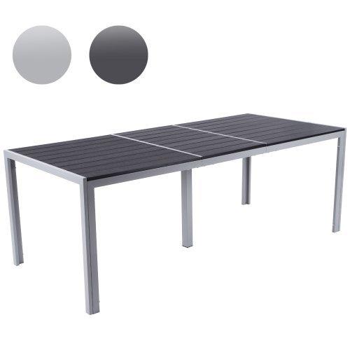 Gartentisch aus Aluminium, Witterungs- und UV-beständiger Alu Tisch für bis zu 8 Personen (Farbwahl) Gartenmöbel in hellgrau oder dunkelgrau - 200x90 (LxB)
