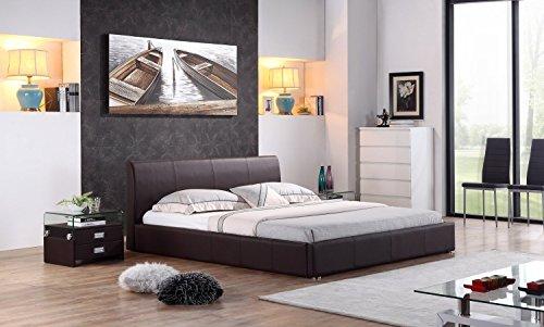 i-flair® - Designer Polsterbett, Bett MONACO 140cm x 200cm braun - alle Farben & Größen