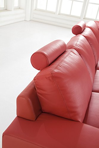 Design Voll-Leder Ledergarnitur Ledersofa Ecksofa-Sofa-Garnitur-Eckgruppe 5010-R-rot