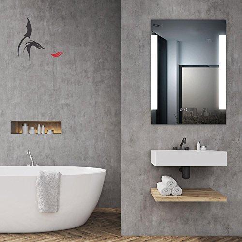 TOP AKTION WEIHNACHTEN! Badspiegel LED beleuchtet mit integrierter Digital Uhr, DORTMUND 60x80 A+, IP44