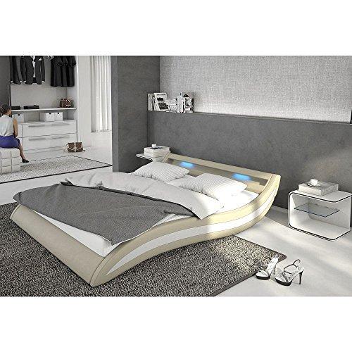 Polster-Bett 140x200 cm hellgrau-weiß aus Kunstleder mit blauer LED-Beleuchtung | Accentox | Das Kunst-Leder-Bett ist ein edles Designer-Bett | Doppel-Bett 140 cm x 200 cm mit Lattenrost in Leder-Optik, Made in EU