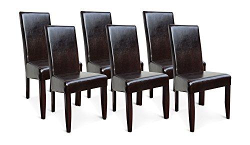 6x esszimmerst hle leder braun wenge gestell buche fertig montiert polsterstuhl lehnstuhl m bel24. Black Bedroom Furniture Sets. Home Design Ideas