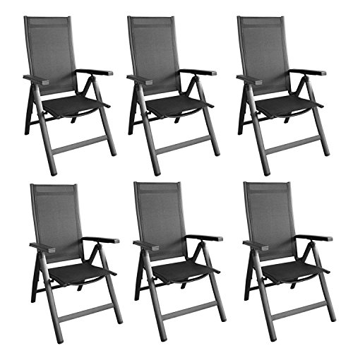 6er set alu hochlehner klappstuhl klappsessel gartenstuhl gartensessel positionsstuhl mit 4 4. Black Bedroom Furniture Sets. Home Design Ideas