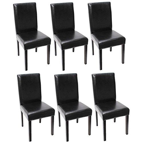 6x Esszimmerstuhl Stuhl Lehnstuhl Littau ~ Leder, schwarz, dunkle Beine