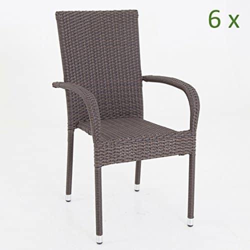 6x gartenstuhl braun stapelbar polyrattan stapelstuhl bistrostuhl gartensessel poly rattan set. Black Bedroom Furniture Sets. Home Design Ideas