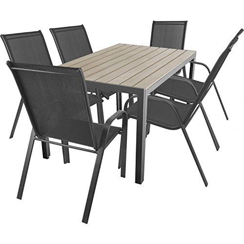 7 teilige terrassengarnitur gartengarnitur aluminium polywood non wood gartentisch 150x90cm. Black Bedroom Furniture Sets. Home Design Ideas