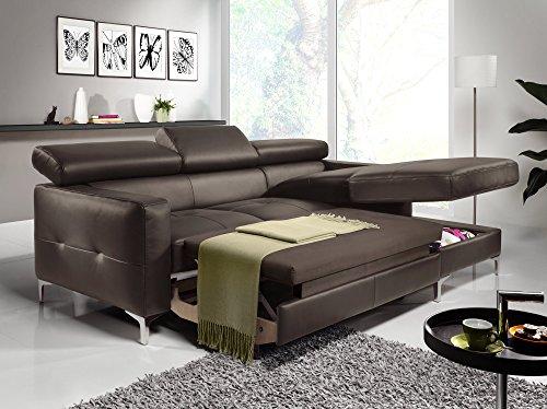 Cotta Y363562 H357 Polsterecke in weichem Kunstleder, Bettfunktion und Bettkasten, 226 x 169 cm, erspresso, Recamiere rechts mit chromfarbenen Fuss