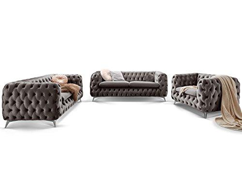 Chesterfield Sofagarnitur 3-2-1 Emma Samtstoff Knöpfung Modern Designer Couch (Silber-Grau)