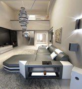 Ledersofa Prato L-Form grau - weiss Ecksofa Design Sofa 2