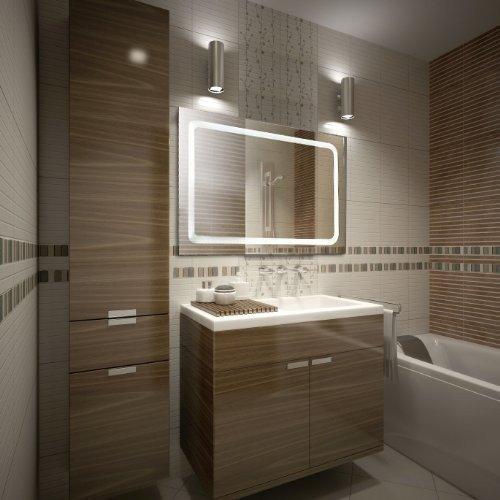 KROLLMANN Badezimmer-Spiegel 65 x 100 cm beleuchtet durch LED-Lichtfelder fürs Bad [Energieklasse A+]